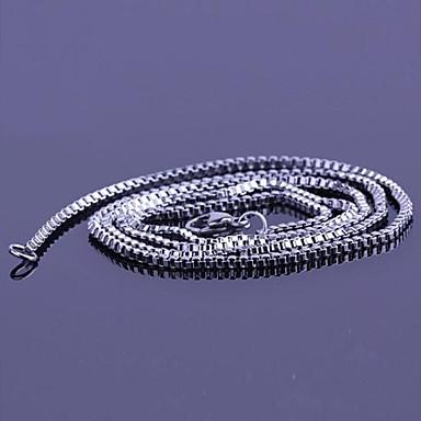 Bărbați Lănțișoare Lung Ieftin Simplu Modă Teak Oțel titan Argintiu Coliere Bijuterii Pentru Cadou Zilnic Casual