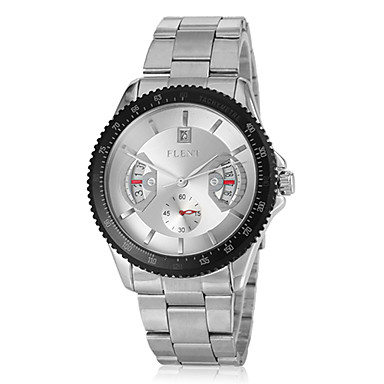 Bărbați Ceas Elegant Japoneză Quartz Oțel inoxidabil Argint Calendar Analog Negru Argintiu