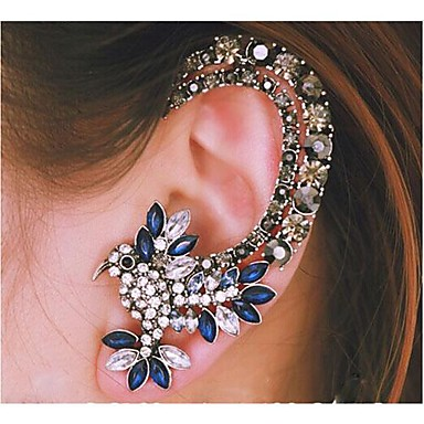 cheap Earrings-Women's Ear Cuff Bird Luxury Fashion Rhinestone Earrings Jewelry Silver For Wedding Party Daily Casual