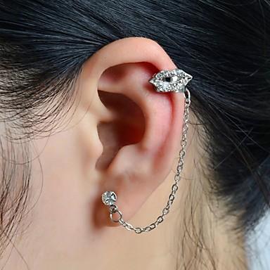 Pentru femei Cătușe pentru urechi Buze femei Lux Ștras Diamante Artificiale cercei Bijuterii Pentru Nuntă Petrecere Zilnic Casual Sport