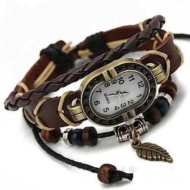 Pentru femei Ceas Brățară ceasul cu ceas Quartz Piele Negru Ceas Casual femei Charm Boem Modă - Maro