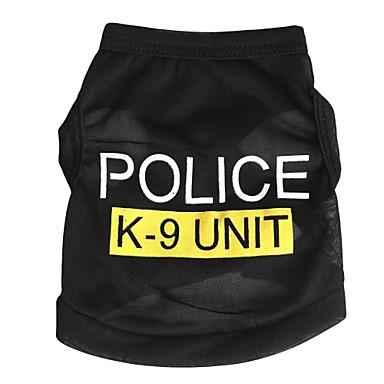رخيصةأون ملابس وإكسسوارات الكلاب-قط كلب T-skjorte ملابس الكلاب أسود أزرق زهري كوستيوم تيريليني Police / Military موضة XS S M L