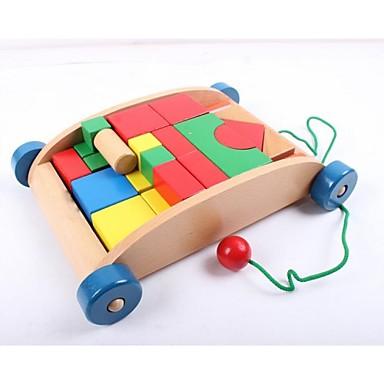 olcso Építőjátékok és építőkockák-pótkocsi fa építőkockák gyermekeknek