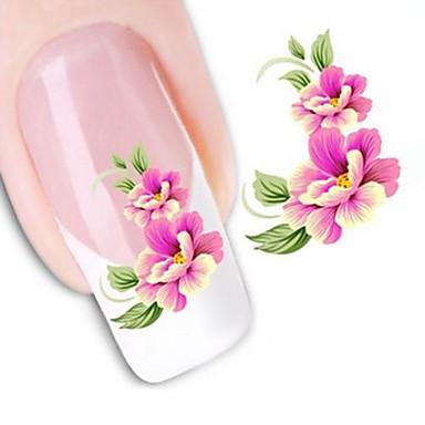 1 pcs 3D Nail Naljepnice Naljepnica za prijenos vode nail art Manikura Pedikura Cvijet / Vjenčanje / Moda Dnevno / 3D naljepnice za nokte