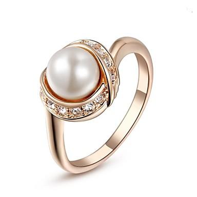 Pentru femei Inel de declarație Cristal Argintiu Auriu Cristal Imitație de Perle Placat Auriu femei Modă Nuntă Petrecere Bijuterii / Zirconiu Cubic