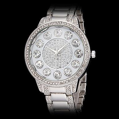 Top le diamant de femmes grand cadran rond bracelet en acier argent de  OL98