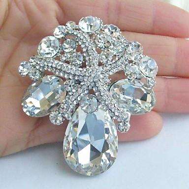 olcso Brossok-női vintage ötvözet világos strassz kristály tengeri csillag menyasszonyi kitűző esküvői ékszerek