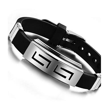 رخيصةأون أساور-رجالي سوار ID مخصص تصميم فريد سيليكون مجوهرات سوار أسود من أجل مناسب للبس اليومي فضفاض / الصلب التيتانيوم