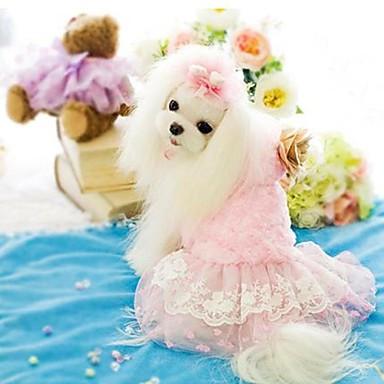 رخيصةأون ملابس وإكسسوارات الكلاب-كلب الفساتين الشتاء ملابس الكلاب أزرق زهري كوستيوم تيريليني قطن XS S M L XL