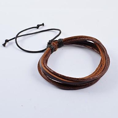 Недорогие Браслеты-Муж. Кожаные браслеты Мода Кожа Браслет Ювелирные изделия Коричневый Назначение Повседневные Спорт