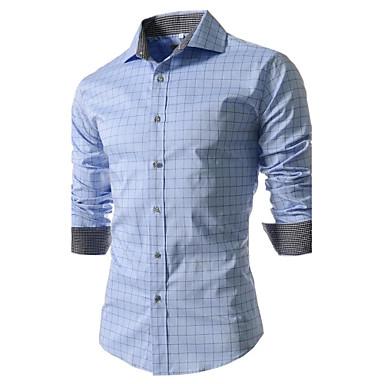 Bărbați Guler Larg - Mărime Plus Size Cămașă Muncă Bumbac Afacere / Șic Stradă - Plisat Imprimeu Albastru Deschis / Manșon Lung / Primăvară / Toamnă / Zvelt