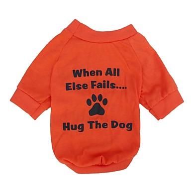 رخيصةأون ملابس وإكسسوارات الكلاب-قط كلب T-skjorte ملابس الكلاب متنفس برتقالي كوستيوم قطن مطبوعة بأحرف وأرقام XS S M L