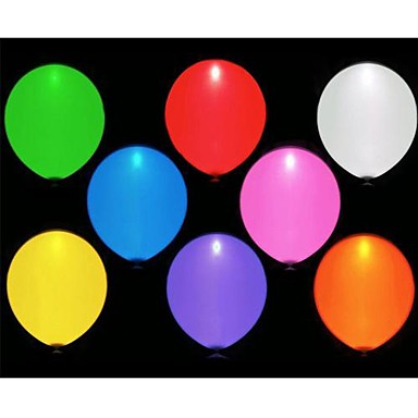 olcso Party kellékek-10db vezetett balloms (véletlenszerű szín)