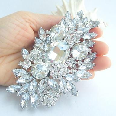 Pentru femei Cristal Broșe Floare femei Modă extravagant Cristal Ștras Broșă Bijuterii Alb Argintiu Pentru Nuntă Petrecere Ocazie specială Zi de Naștere Logodnă Cadou