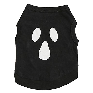 Pisici Câine Tricou Îmbrăcăminte Câini Respirabil Negru Costume Bumbac Cranii Halloween XS S M L