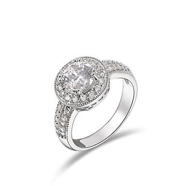 Pentru femei Inel de declarație Diamant sintetic Auriu / Argintiu Cristal / Placat Auriu / Diamante Artificiale femei / Clasic / Bling bling Nuntă / Petrecere / Logodnă Costum de bijuterii / Zirconiu