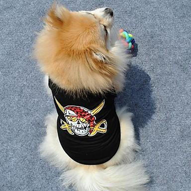 رخيصةأون ملابس وإكسسوارات الكلاب-قط كلب T-skjorte ملابس الكلاب أسود كوستيوم قطن جماجم XS S M L