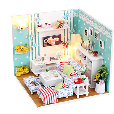 olcso Babaház és kiegészítők-aranyos DIY fa kézzel álom babaház bútor miniatűr nappali puzzle játékok