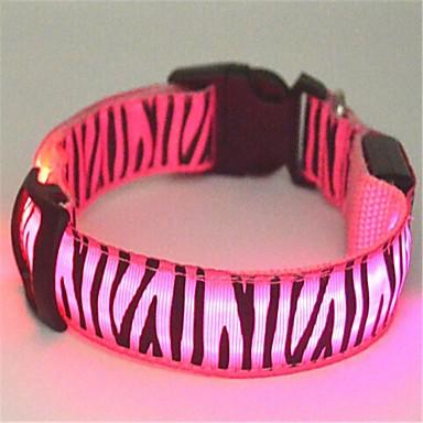 povoljno Ogrlice, pojasevi i uzice za psa-Mačka Pas Ovratnik LED svjetla Zebra Najlon Zelen Plava Pink