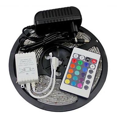 olcso Szalagfény készlet-5m rugalmas LED-es csíkok / világítókészletek / rgb-sávú lámpák LED-ek 5050 smd 10mm rgb távirányító / rc / forgatható / tompítható 12 v / összekapcsolható / öntapadós / színváltó