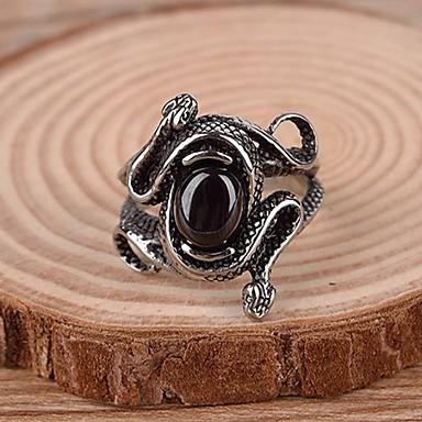 رخيصةأون خواتم-رجالي خاتم البيان خاتم الأحجار الكريمة الاصطناعية الصلب التيتانيوم سبيكة عبارة عتيق كاجوال مجوهرات ثعبان