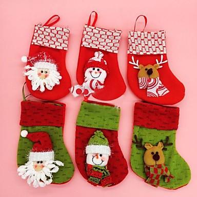 olcso Sapkák és fejfedők-18cm karácsonyi docorated zokni különböző színű 6db (véletlenszerű szín)
