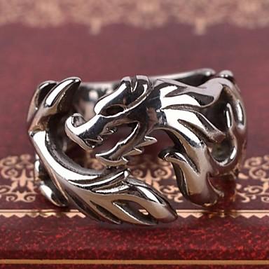 Bărbați Band Ring Inel Argintiu Teak Aliaj Personalizat Vintage Casual Cadou Bijuterii Balaur