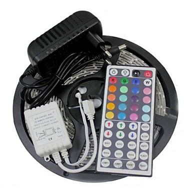 abordables Tiras LED Flexibles-Tiras de luz led flexibles de 5 m / juegos de luces / luces de tira rgb leds 3528 smd 8mm rgb control remoto / rc / cortable / regulable 100-240 v / enlazable / autoadhesivo / cambio de color / ip44