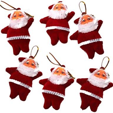 olcso Ajándékok-6 db mini mikulás alakú karácsonyfa függő dekoráció - piros (6 db)