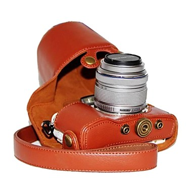 olcso Tokok, táskák & pántok-dengpin® pu bőr licsi minta kamera esetében Olympus PEN E-PL7 17mm / 14-42mm objektívvel