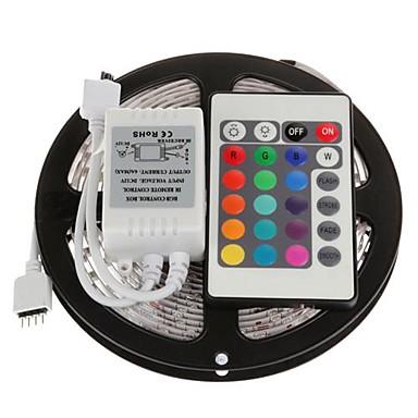 Zdm 5m 300 x 2835 benzi led 8mm rgb flexibile și telecomandă ir 24key conectabile auto-adezive care schimbă culoarea
