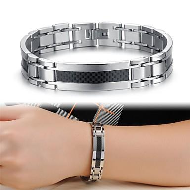 voordelige Heren Armband-Heren Dames Uniek ontwerp Modieus Titanium Staal Armband sieraden Zilver Voor Kerstcadeaus Bruiloft Feest Dagelijks Causaal