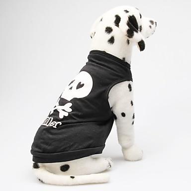 رخيصةأون ملابس وإكسسوارات الكلاب-قط كلب T-skjorte ملابس الكلاب أسود أزرق وأصفر خمر كوستيوم قطن قلب جماجم XS S M L
