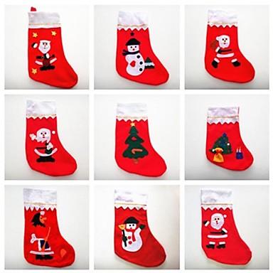 olcso Sapkák és fejfedők-karácsonyi mikulás zokni különböző színű és dekorációk 6db (véletlenszerű szín)