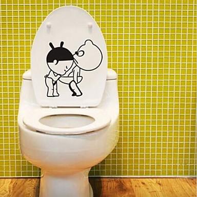 كارتون ملصقات الحائط لواصق حائط الطائرة لواصق المرحاض, PVC تصميم ديكور المنزل جدار مائي مرحاض