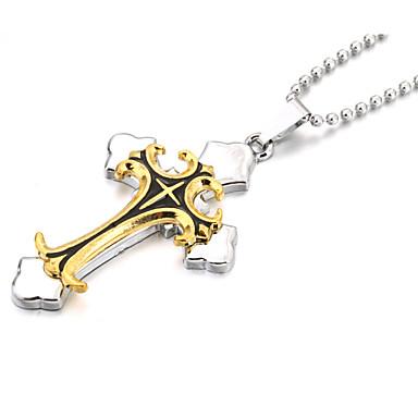 Недорогие Ожерелья-Ожерелья с подвесками Крест Дамы Христос Кожа Сплав Золотой / Серебряный Ожерелье Бижутерия Назначение Новогодние подарки Для вечеринок Спорт