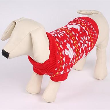 رخيصةأون ملابس وإكسسوارات الكلاب-قط كلب البلوزات الشتاء ملابس الكلاب أحمر كوستيوم قطن ندفة ثلجية عيد الميلاد XS S M L XL