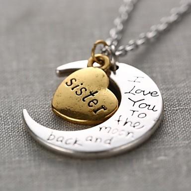 Pentru femei Coliere cu Pandativ Monogramă Gravat MOON Inimă Iubire Semilună Te iubesc până la lună și înapoi femei Personalizat Modă Aliaj Auriu / Argintiu Coliere Bijuterii 1 buc Pentru Cadou