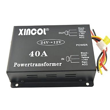 voordelige Stroomomvormers-xincol® voertuig auto dc 24v naar 12v 40a voeding transformator omvormer met ventilator regulatie-zwart