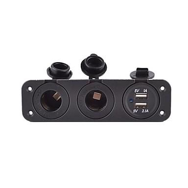 5v 3.1a autolader drie-gats paneel met dubbele usb-poort en 2 sigarettenaansteker waterdichte stroomadapters stopcontact
