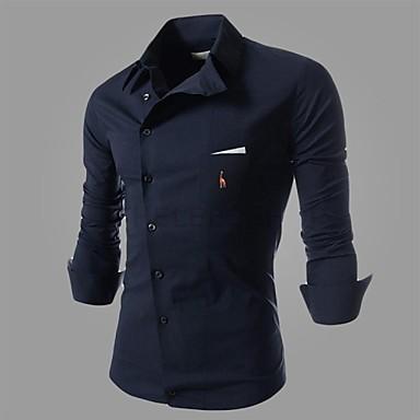 رخيصةأون قمصان رجالي-رجالي قياس كبير - قطن قميص, لون سادة / كم طويل / الربيع / الخريف