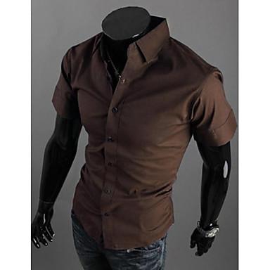 رخيصةأون قمصان رجالي-رجالي عمل الأعمال التجارية أساسي قياس كبير قميص, لون سادة ياقة مفرودة نحيل / كم قصير / الصيف
