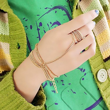 2014 Latest Design Simple Gold Plated Chains Bracelet Connectedd