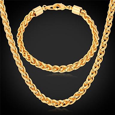 ieftine Seturi de Bijuterii-femei Elegant Dubai Placat Auriu cercei Bijuterii Auriu Pentru Nuntă Petrecere Zilnic Casual Sport / Coliere / Brățară