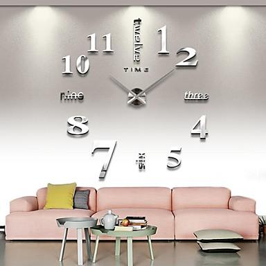 voordelige Woondecoratie-frameloze grote diy wandklok, moderne 3d wandklok met spiegel nummers stickers voor kantoor aan huis decoraties cadeau