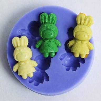 iepurași în formă de instrumente de decor fondantă de tort de ciocolată silicon mucegai cupcake, l5.6cm * w5.6cm * h1cm