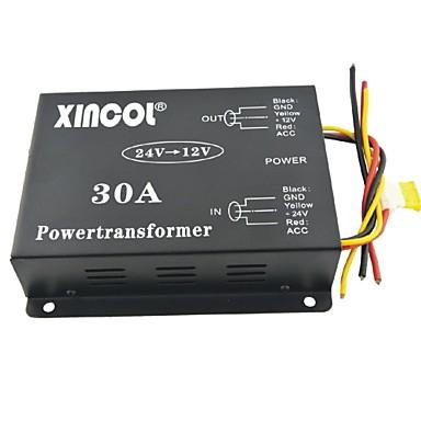 voordelige Stroomomvormers-xincol® voertuig auto dc 24v naar 12v 30a voeding transformator omvormer met ventilator regulatie-zwart