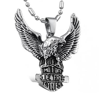 Недорогие Ожерелья-Муж. Ожерелья с подвесками На заказ Панк европейский Титановая сталь Серебряный Ожерелье Бижутерия Назначение Повседневные