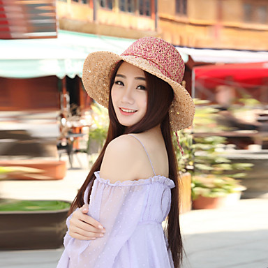 cheap Hair Jewelry-Women's Vintage/Casual Summer Straw Straw Hat