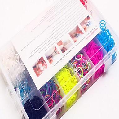 1200pcs stil război de țesut de silicon bratari de bandă 1200pcs benzi colorate DIY culoare curcubeu, 12 s-clipuri, 1looms, 3 cârlig + 1box